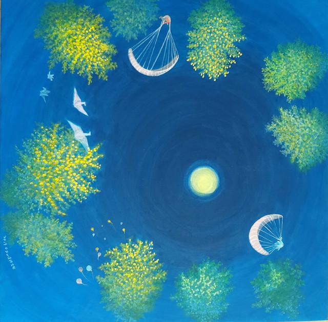 윤정례   Dreams in the glass-하늘바라기7, 장지위에 분채, 90x90cm, 2019.jpg