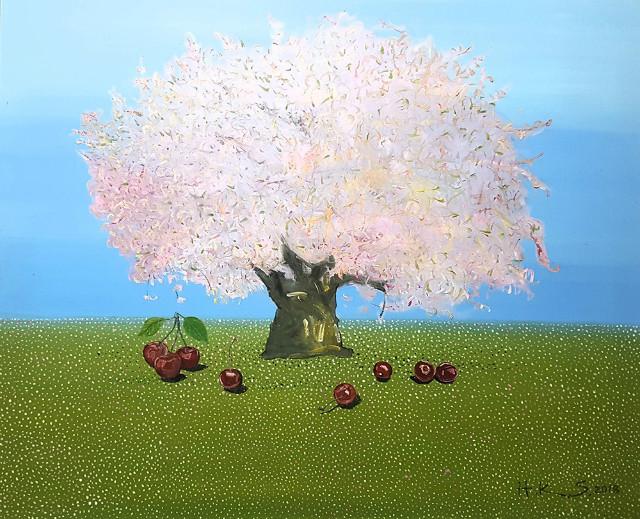 한광숙    체리나무 사랑 나무여행, oil on canvas 61x73cm 2018.jpg