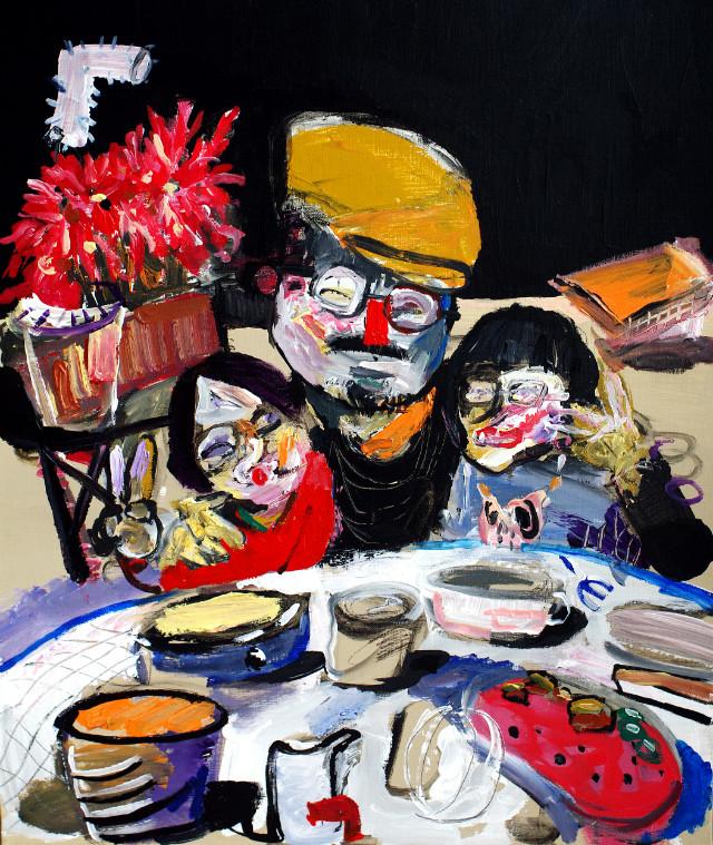 happy dinner_72.7X60.6cm_acrylic on canvas_2020.jpg
